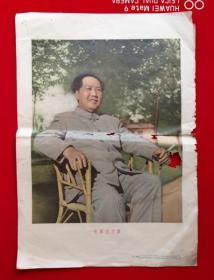 特价1956年毛泽东主席坐在藤椅上8开包老侯波摄影