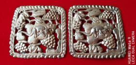 清代老银器银饰松树莲藕葡萄图银片一对包老全品稀少