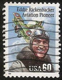 外国邮票-美国飞行员【战斗英雄埃迪.里肯巴克】双翼飞机,好信销邮票,如图