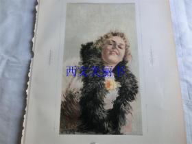 【现货 包邮】1890年套色木刻版画《幻想曲》(Fantasia) 尺寸约41*29厘米(货号 18018)