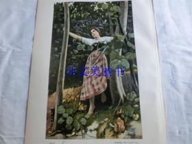 【现货 包邮】1890年套色木刻版画《林中美女》(Zwei Aeuglein braun, Die liegen mir im Sinn)  尺寸约41*29厘米(货号 18018)