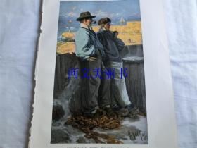 【现货 包邮】1890年彩色平版印刷版画《Feierabend, Motiv von der schwedischen kuste 》 尺寸约41*29厘米  (货号 18018)