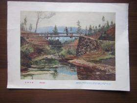 1958年美术画片:山溪木桥(钱延康)——上海画片出版社(一版一次)