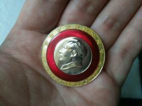 毛主席像章,彩色葵花边,上海-4——5046