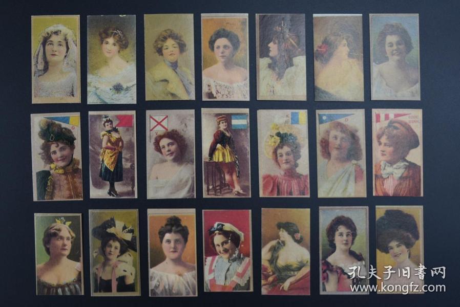 """(甲7560)《烟卡》老烟卡 烟标21张 RUBY QUEEN 红宝石皇后 英美烟草公司在我国上海倾销""""红锡包""""牌香烟 烟卡尺寸:6.5*3.5CM"""