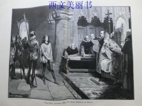 【百元包邮】1890年巨幅木刻版画《无畏的珍妮》( Jeanne dare vor ihren Richtern zu Rouen )    尺寸约56*41厘米 (货号 18030)