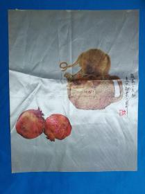 《多子多福》绘画 非常逼真 【1】 材质不知是丝绸还是化纤50x39.5
