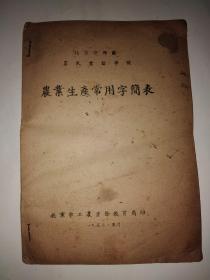 50年代北京市农民业余学校农业生产常用字简表