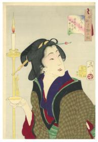 日本浮世绘 芳年画 风俗三十二相  安政年间町芸者俗ニ酌人之风俗 1枚 日本真品货源