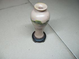 民国老漆木小花瓶彩绘山水画古玩摆件收藏