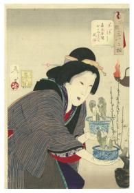日本浮世绘 芳年画 风俗三十二相 嘉永年间おかみさんの风俗  明治二十一年  1888年 1枚 日本真品货源