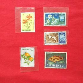外国邮票欧洲邮票圣马力诺共和国邮票花草水果植物小狗热带鱼邮票收藏珍藏10 底部