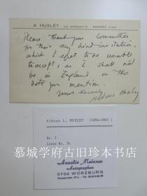 【手迹】英国二十世纪著名作家赫胥黎(ALDOUS HUXLEY 1894-1963)手写明信片一帧(14X9厘米)