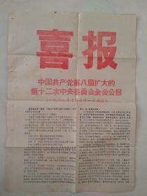 喜报----中国共产党第八届扩大的第十二次中央委员会全会公报