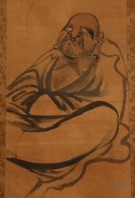 茶室挂轴古画 达摩图 绢本 禅僧画 日本寺院传来 原装裱