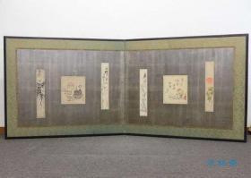茶道小屏风 煎茶图 和歌短册 古画交贴 日本茶道具