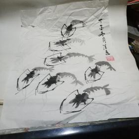 李清逸画(虾)