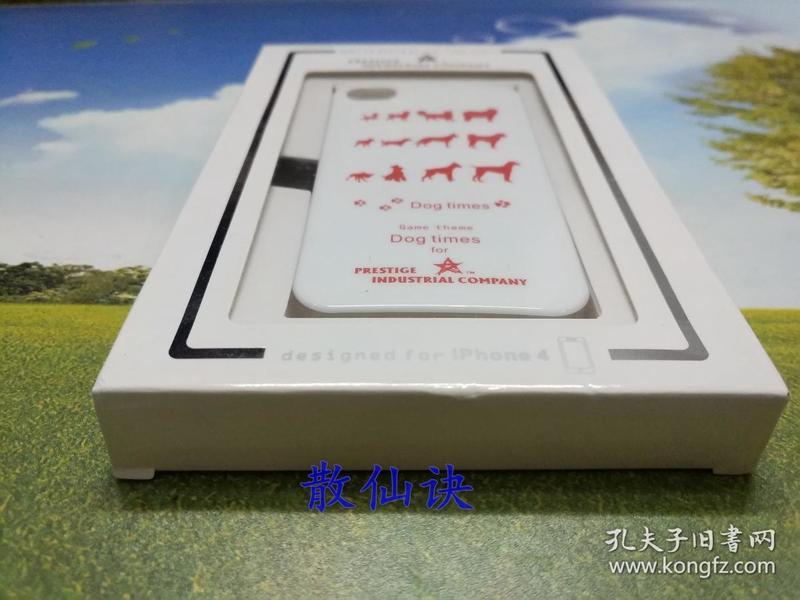 蘋果iPhone 4/4S 手機殼保護殼(白色殼紅色犬型圖案)【未拆包裝】