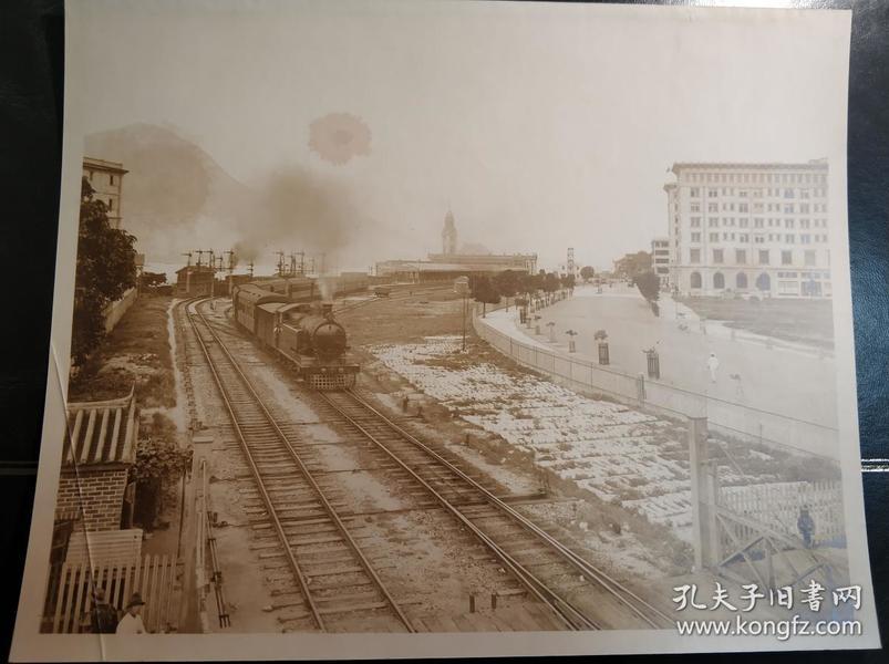 民国香港九龙火车站梳士巴利道半岛酒店大幅老照片一张