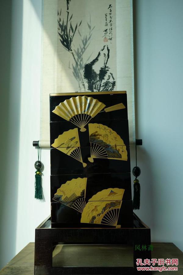 本金扇面莳绘五重箱 日本古董漆艺美品