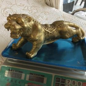 6斤重的铜 恭喜发财老虎生肖摆件 镇纸