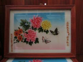 七、八十年代花和蝴蝶玻璃画,,品如图,似是手工绘制,经典怀旧72