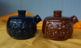 2只颜色不同的小壶高7.5厘米 腹径8厘米(xin17)