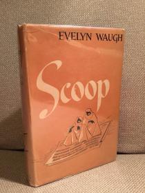 Scoop(伊夫林·沃《独家新闻》,Lester M. Peterson设计封面,布面精装,难得带护封,1944年老版本)