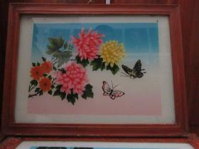七、八十年代花和蝴蝶玻璃画,,品如图,似是手工绘制,经典怀旧73