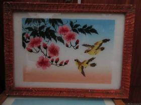 七、八十年代花和小鸟玻璃画,,品如图,似是手工绘制,经典怀旧74