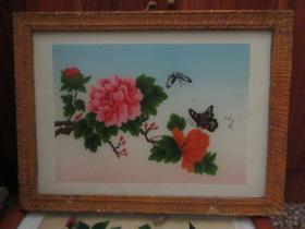 七、八十年代蝴蝶牡丹玻璃画,,品如图,似是手工绘制,经典怀旧75