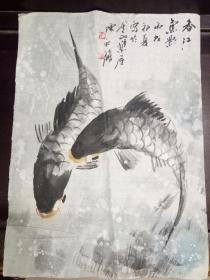 岭南著名书画家陈永锵作品-春江鱼影(画稿)