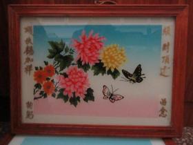 七、八十年代蝴蝶牡丹玻璃画,,品如图,似是手工绘制,经典怀旧77