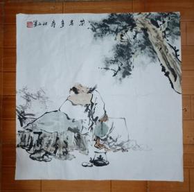 落款秋石的国画作品《茶者多寿》,四尺斗方,画的好!作者信息不详。