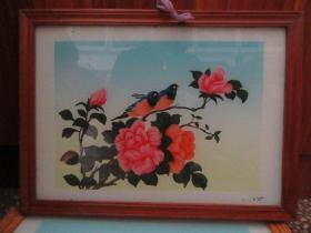七、八十年代蝴蝶牡丹玻璃画,,品如图,似是手工绘制,经典怀旧78