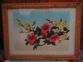 七、八十年代花卉玻璃画,,品如图,似是手工绘制,经典怀旧79