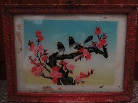 七、八十年代花鸟玻璃画,,品如图,似是手工绘制,经典怀旧80