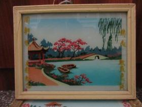 七、八十年代山水玻璃画,,品如图,似是手工绘制,经典怀旧83