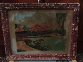 七、八十年代山水玻璃画,,品如图,似是手工绘制,经典怀旧84