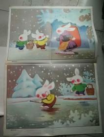 小学看图说话写话教学图片--聪明的兔兄弟(一)(二)(三)(四)(2张一套)