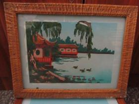 七、八十年代山水玻璃画,,品如图,似是手工绘制,经典怀旧86