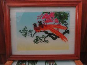 七、八十年代花鸟玻璃画,,品如图,似是手工绘制,经典怀旧87