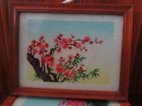 七、八十年代梅花竹子玻璃画,,品如图,似是手工绘制,经典怀旧88