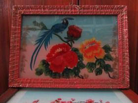 七、八十年代花鸟玻璃画,,品如图,似是手工绘制,经典怀旧89