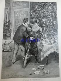 【现货 包邮】1890年木刻版画《关键时刻》(Ein Kritischer Moment)尺寸约41*29厘米 (货号 18018)