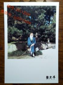 张大千松石高士彩色摄影照片(老画家照片相片) 【明信片1张】