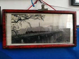 六十年代延安宝塔老蒸汽火车大幅照片50x24厘米