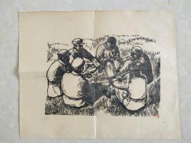 民国抗战题材木刻版画,规格34.5x28 便于保存后面已经托裱