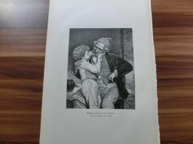 【现货】1889年木刻版画《爷孙俩》(Großpapa) 尺寸约40.8*27.5厘米 (货号600144)