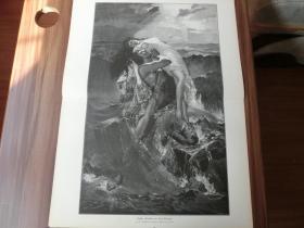 【现货】1889年巨幅木刻版画《萨拉》(Sarah) 尺寸约54.2*40.8厘米 (货号600148)